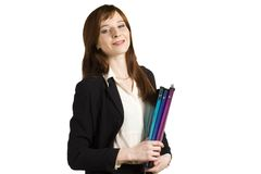 Young business girl. Getting ready for office meeting Royalty Free Stock Photo