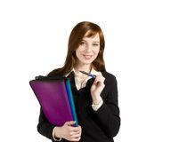 Young business girl. Getting ready for office meeting Royalty Free Stock Photography
