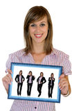 Young business girl. Young business with blue frame Royalty Free Stock Image