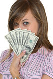 Young business girl. With dollars banknotes Stock Photography