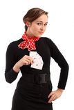 Young business girl with playing cards Royalty Free Stock Image