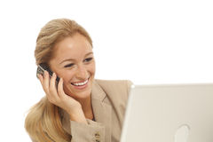 Young business girl using cell phone Stock Photo