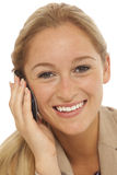 Young business girl using cell phone Royalty Free Stock Images
