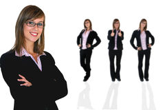 Young business girls. Over a white background Stock Photos