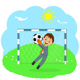 Young business goalkeeper catching a ball Royalty Free Stock Images