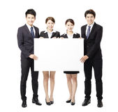 Young Business  group holding  blank white  board Stock Photos