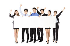 Young Business  group holding  blank white  board Royalty Free Stock Image