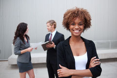 Young business group standing together at office Stock Image