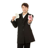 Young business holding piggy bank and dollars  Stock Photo