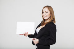 Young business lady with billboard. Smilling Stock Photo