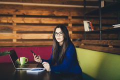 Young business lady call on phone. In office hub Stock Images