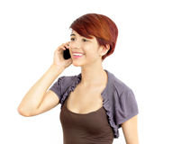 Young business lady on cell phone. Young business woman chatting on  mobile telephone white background isolated Royalty Free Stock Image