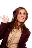 Young business lady with headphones Stock Photography