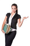 Young business lady holding folders gestures Stock Photo