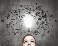 Young business lady is looking for new business ideas. Stock Photos