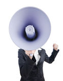 Young business lady with loudspeaker. Young business lady screaming to loudspeaker Stock Photos