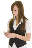 Young business lady mobile. Pretty young lady dressed in black and white business attire isolated on a white background, talking on a mobile phone stock photos