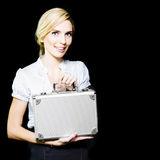 Young business lady pleased at her promotion Royalty Free Stock Photography