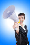 Young business lady. Screaming to loudspeaker Stock Image