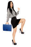 Young business lady on white Stock Image