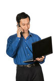 young business laptop calling mobile phone royalty free stock photos