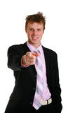 Young business man. Pointing index finger stock photos
