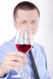Young business man. With a glass of wine Royalty Free Stock Photo