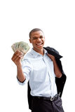 Young business man. Young African business man standing relaxed and secure with jacket over shoulder and money in hand, isolated Stock Images