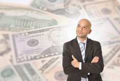 Young Business Man with bald head Thinking and Dreaming of Big M Royalty Free Stock Photos