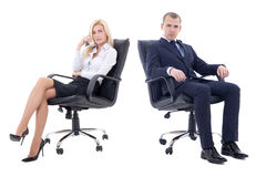 Young business man and beautiful business woman sitting on office chairs isolated on white. Young business men and beautiful business women sitting on office stock images