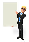 Young Business man with big sign Royalty Free Stock Image