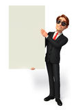 Young Business Man with big sign Royalty Free Stock Photography