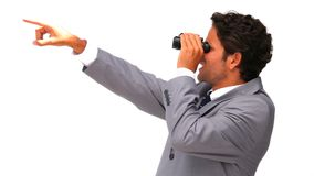 Young business man with binoculars stock footage