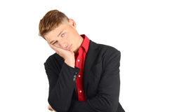 Young business man bored and not happy. Royalty Free Stock Image