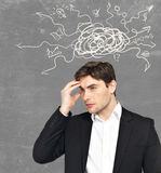 Young business man brainstorming Stock Photo