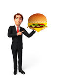 Young Business Man with burger Stock Photography