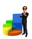 Young Business Man with business graph Stock Images