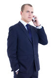 Young business man calling on the mobile phone isolated on white Royalty Free Stock Images