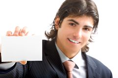 Young business man with card Royalty Free Stock Photo