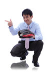 Young Business man catch baseball Royalty Free Stock Images
