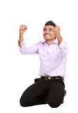 Young business man celebrating success Stock Photo