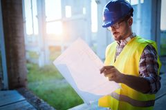 Young business man construction site engineer stock photo