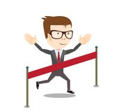 Young business man crossing the finish line. Stock vector illustration Royalty Free Stock Photo