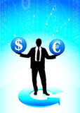 Young business man with currency symbols Royalty Free Stock Image
