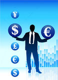 Young business man with currency symbols Royalty Free Stock Images