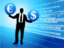 Young business man with currency symbols Stock Image