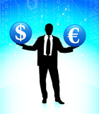 Young business man with currency symbols Royalty Free Stock Photos