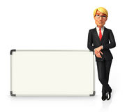 Young Business Man with display board Royalty Free Stock Image