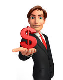 Young Business Man with dollar sign Royalty Free Stock Images