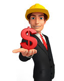 Young Business Man with dollar sign Stock Photo